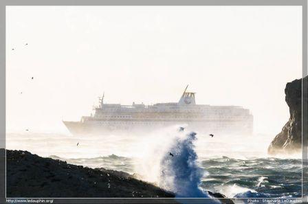 Le Méditérannée en route pour le port de Tunis par fort Mistral